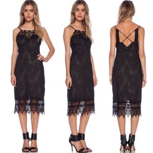 Free people Take me out black crochet midi dress